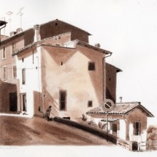 "View ""Railroad Crossing, Bagnaia"""